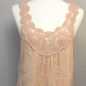 Pinky vintage inspired lace dress. XL. Sleeveless
